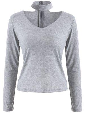 Long Sleeved Choker T-Shirt - Gray