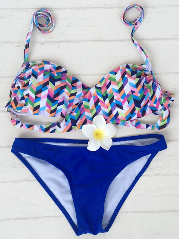 Halter Colorful Zig Zag Bikini Set