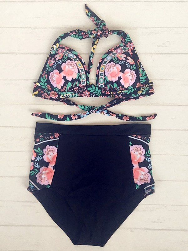 Halter Floral Print High Waisted Bikini Set