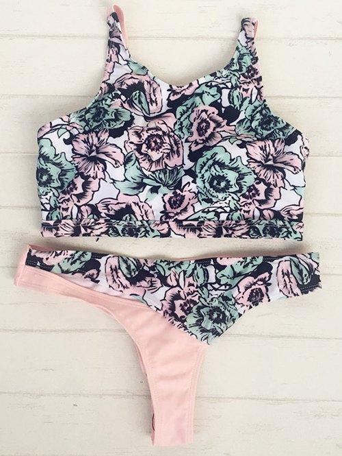 High Neck Retro Rose Print Bikini Set