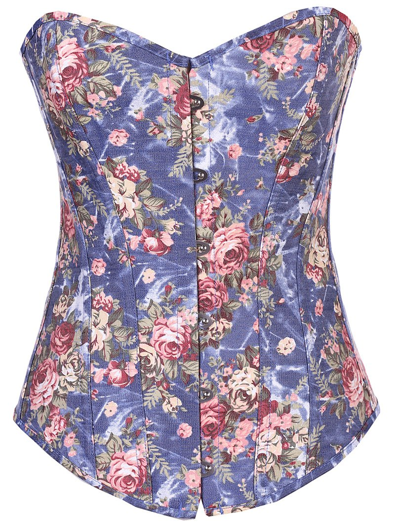 Denim Floral  Back Lace Up Corset - DENIM BLUE M