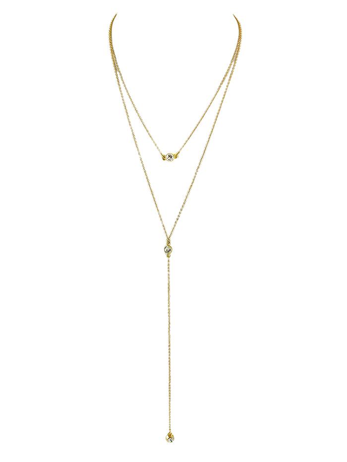 Rhinestone Y-Shaped Layered Necklace