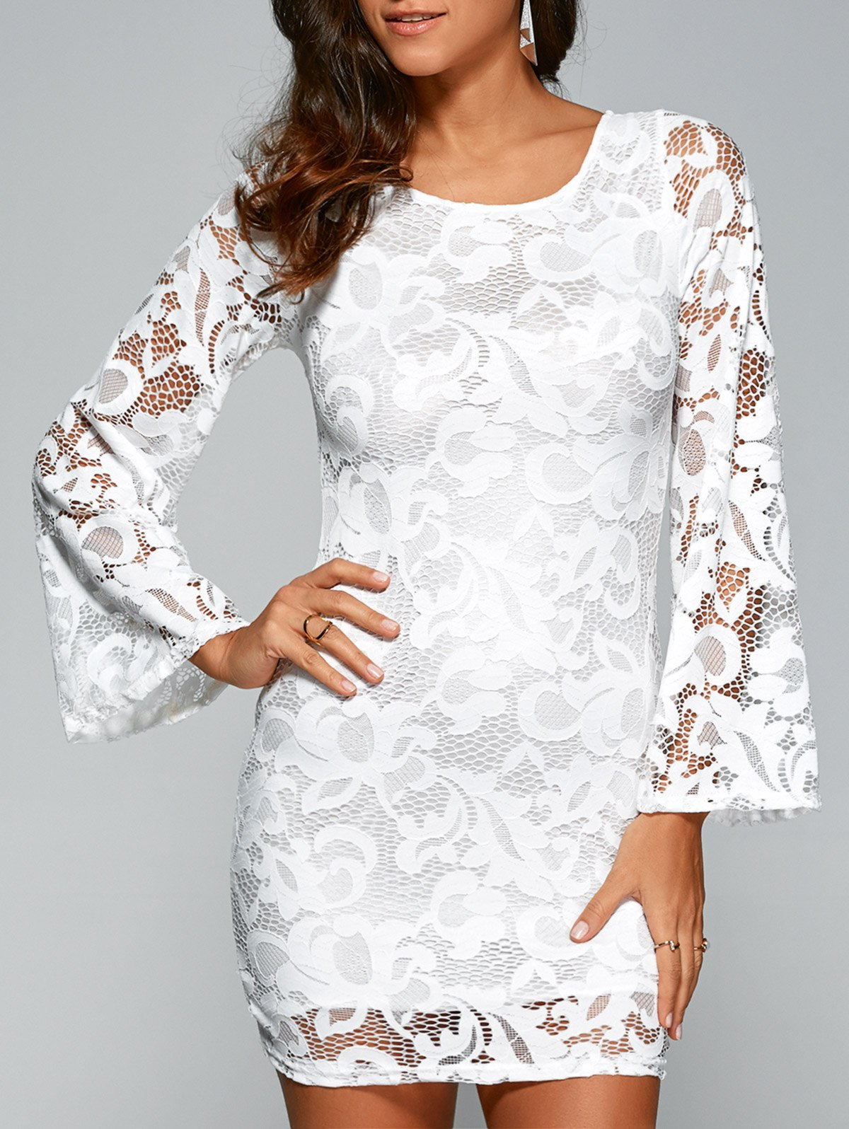 Flare Sleeve Lace-Up Lace Sheath Dress