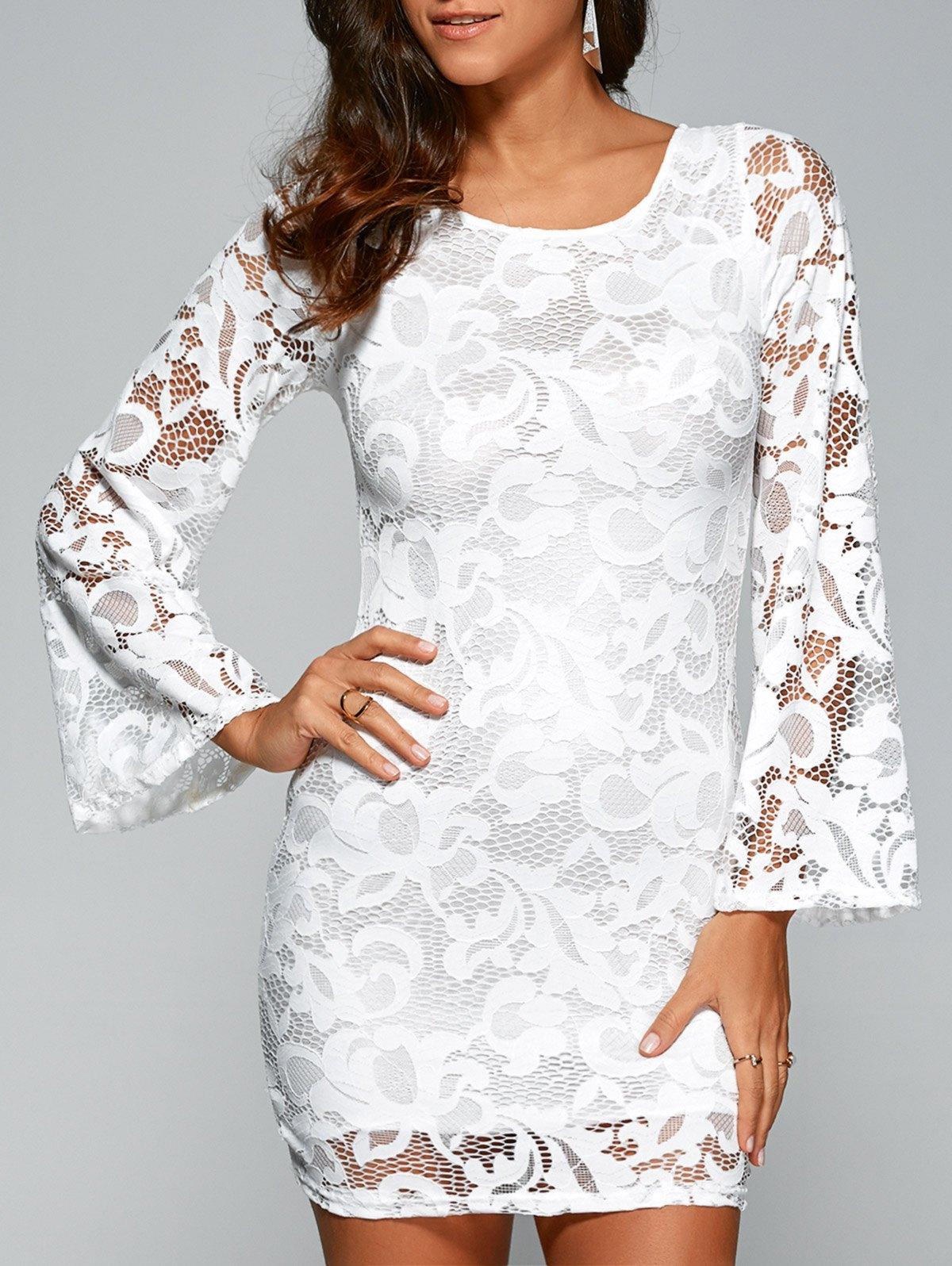 Flare Sleeve Lace-Up Lace Sheath Dress