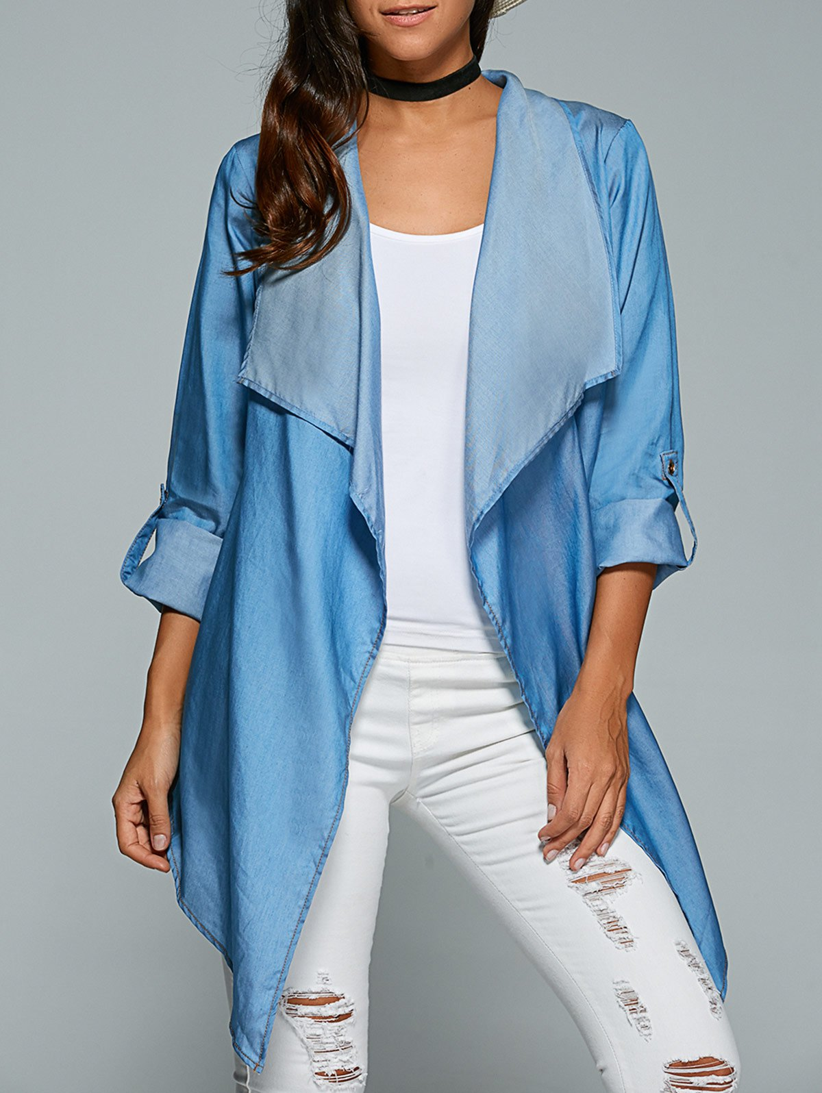 Loose Asymmetric Denim Coat