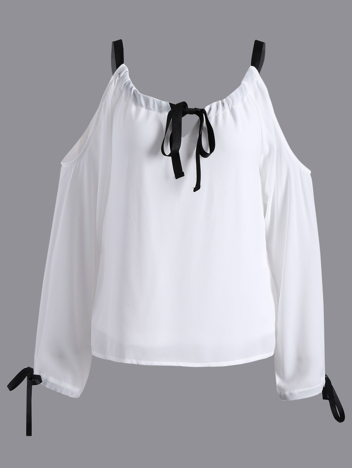 Cold Shoulder Pussy Bow BlouseClothes<br><br><br>Size: S<br>Color: WHITE