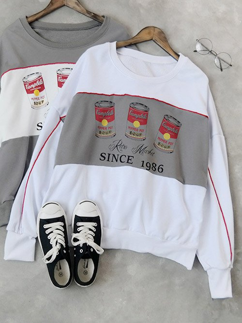 Batwing Sleeve Soda Bottle Sweatshirt