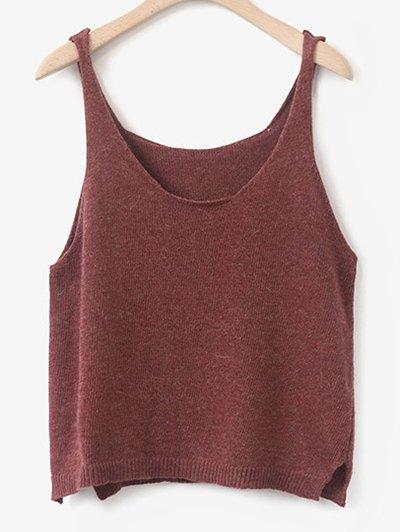 Scoop Neck Side Furcal Knitted Vest