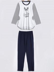 Striped Bunny Print High Low Sleepwear Sets