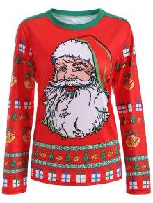 Cute Long Sleeve 3D Santa Claus Print Christmas T-Shirt - Red M