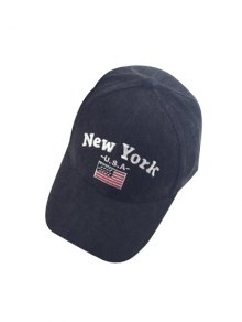 Autumn New York And USA Flag Embroidery Corduroy Baseball Hat - Black