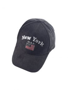 Autumn New York and USA Flag Embroidery Corduroy Baseball Hat