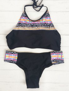 Halter Tribal Bikini Set - Black
