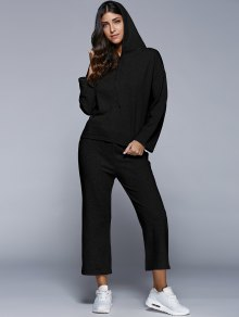 Pullover Hoodie With Culotte Pants - Black S