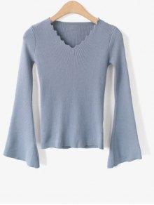 Buy Flare Sleeve Scalloped V Neck Knitwear - LIGHT BLUE ONE SIZE
