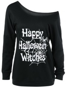 Skew Collar Happy Halloween Witches T-Shirt - Black L