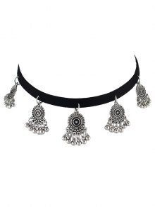 PU Leather Velvet Alloy Circle Choker