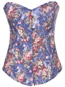 Denim Floral  Back Lace Up Corset - Denim Blue