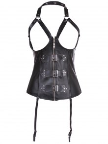 Artificial Leather Halter Cupless Corset - Black