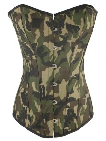Steel Boned Camo Lace Up Corset - Camouflage S