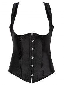 Lace Up Corset With G-String - Black