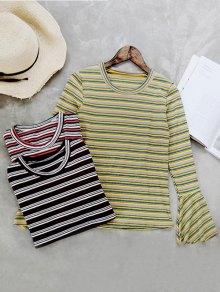 Flare Sleeve Striped Knitwear
