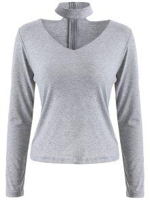 Long Sleeved Choker T-Shirt - Gray L