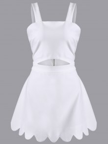 Cut Out Scalloped A-Line Dress