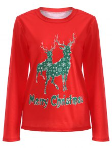 Elk Pattern Christmas T-Shirt