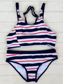 Striped Adjustable Straps Sporty Bikini