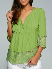 Scalloped Lace Splicing Blouse