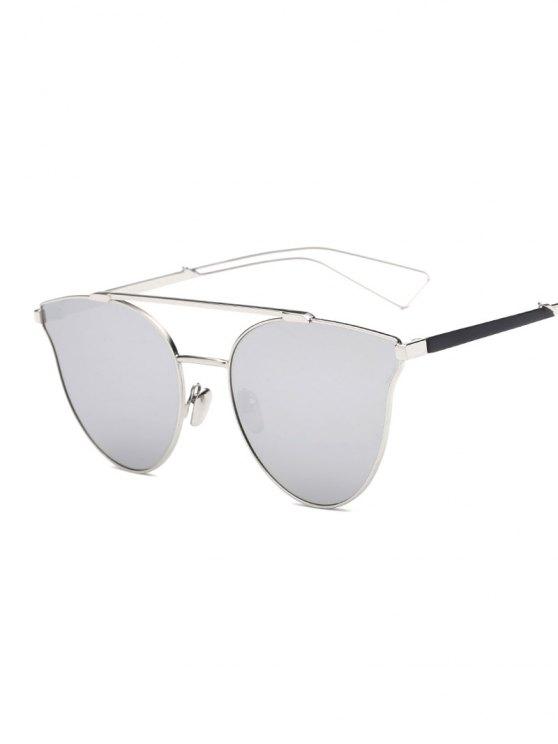 Ahueca hacia fuera Pierna barra transversal de la mariposa gafas de sol de espejo - Plata