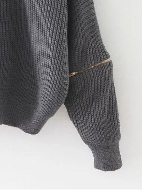Zipped Oversized Choker Neck Sweater - PINKBEIGE  Mobile