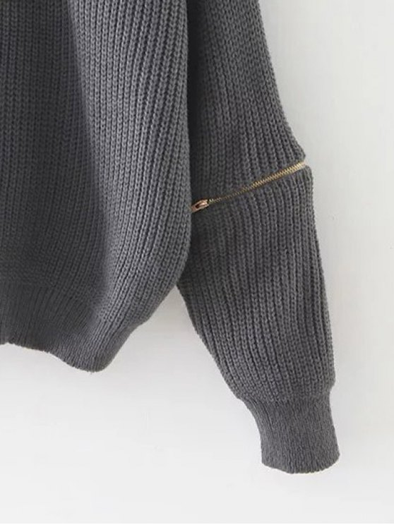 Zipped Oversized Choker Neck Sweater - GRAY  Mobile