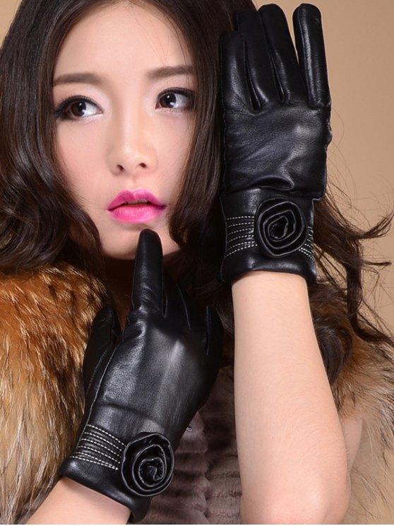 latest Flower Thicken Short Gloves - BLACK XL