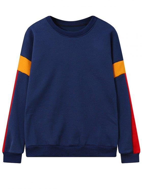 Color Block Fleece Sweatshirt - DEEP BLUE ONE SIZE Mobile