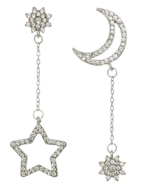 fashion Rhinestone Star Asymmetric Earrings - SILVER