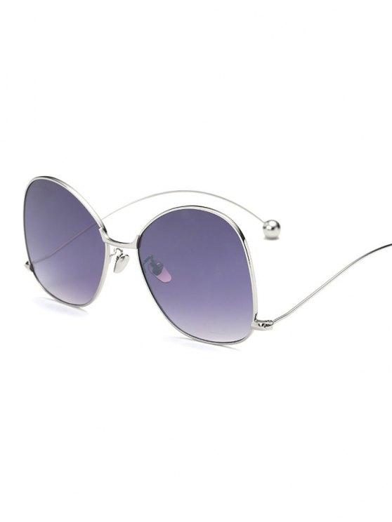 النظارات الشمسية مع الهيكل الشاذ بطراز الموجة - فضة