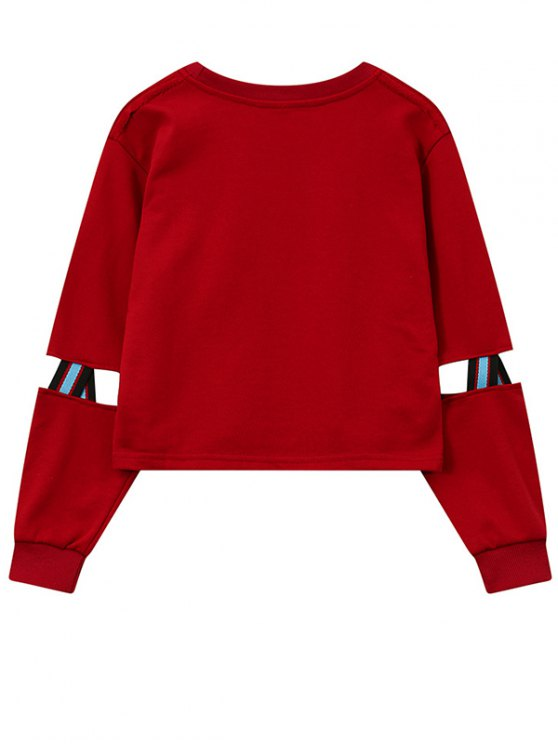 Print Patched Spliced Sleeve Graphic Sweatshirt - RED ONE SIZE Mobile