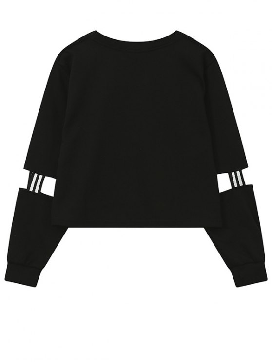 Print Patched Spliced Sleeve Graphic Sweatshirt - BLACK ONE SIZE Mobile