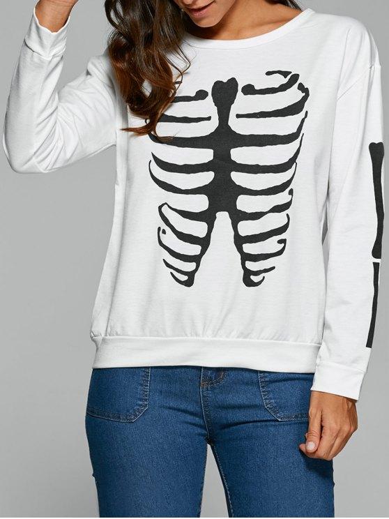 online Long Sleeve Halloween Skeleton T-Shirt - WHITE S