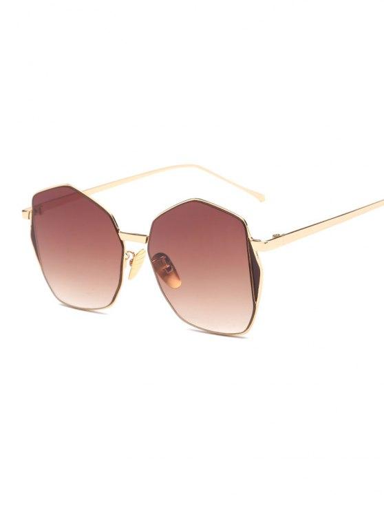 fashion Triangle Embellished Irregular Sunglasses - TEA-COLORED