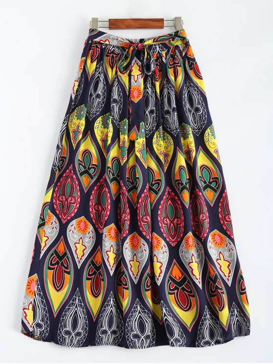 trendy Retro Print Bowknot Maxi Skirt - MULTICOLOR ONE SIZE
