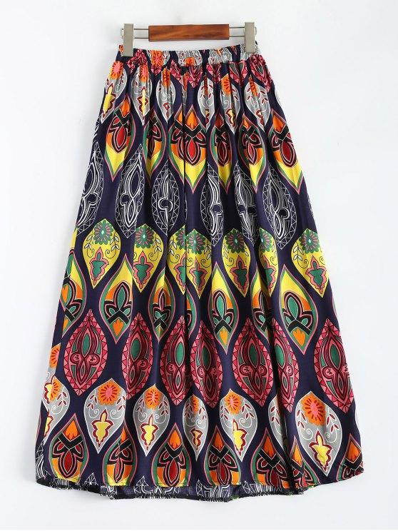 Retro Print Bowknot Maxi Skirt - MULTICOLOR ONE SIZE Mobile
