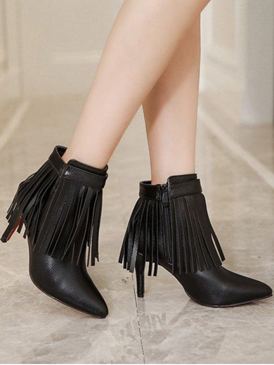 Fringe Pointed Toe Zipper Ankle Boots - BLACK 38 Mobile
