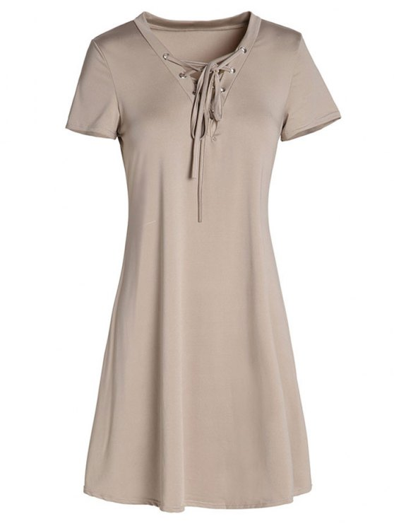 Lace-Up A-Line Dress - KHAKI M Mobile