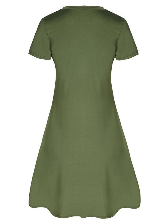 Lace-Up A-Line Dress - ARMY GREEN L Mobile