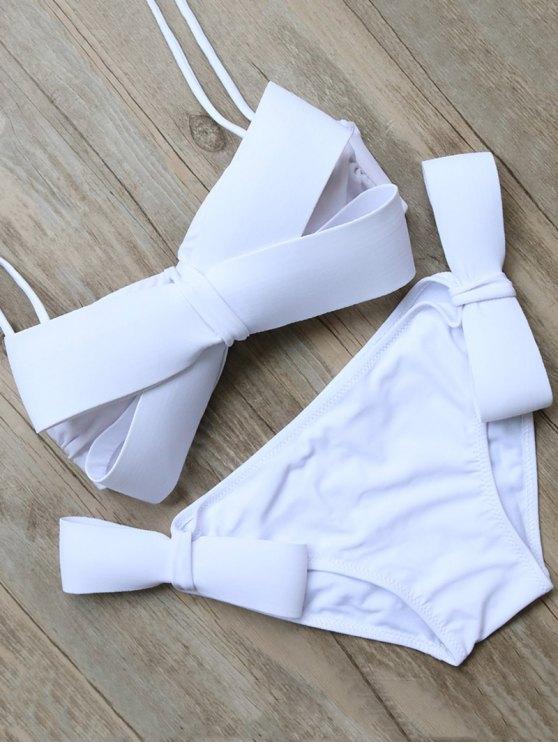 outfits Bowknot Halter Bikini Set - WHITE L