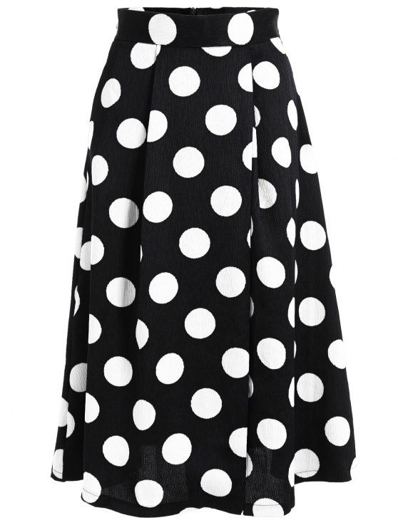 women's A Line High Waist Polka Dot Skirt - BLACK S