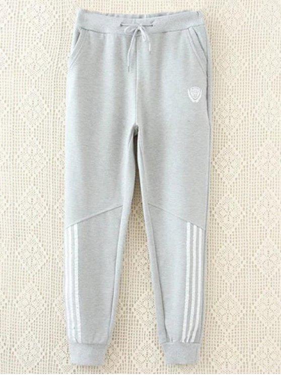 Striped Plus Size Drawstring Sweatpants - GRAY 3XL Mobile